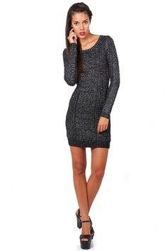 Black Metallic Sweater Dress | #ustrendy www.Ustrendy.com