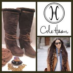 """COLE HAAN Cocoa Brown Suede Shearling Boots, 7.5 B New without box authentic Cole Haan cocoa brown suede and bronze leather accents below the knee boots.  Lined in soft, warm and comfy matching brown shearling, they measure 16.5"""" high from bottom to top.  Heel height is 4"""" and there is a slight platform that measures 3/4"""".  They are pull up boots and size is 7.5 B.  Gorgeous detail and so very classy! Cole Haan Shoes Heeled Boots"""