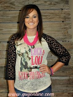 Lock and Load Baseball Burnout Tee with Crochet Sleeves  www.gugonline.com