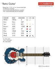cross stitch guitar rock -