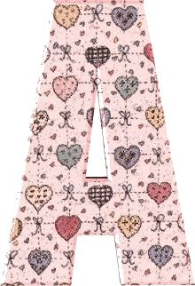 Alfabeto rosa con corazones de colores.