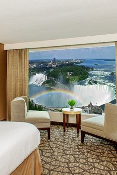 Embassy Suites by Hilton Niagara Falls- King rooms, while simple, contain spacious baths and views of the falls. #Jetsetter