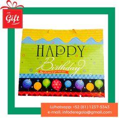 7b1e539e5 Bolsa de regalo para cumpleaños, bolsa de regalo para mujer, bolsa de regalo  plastificada