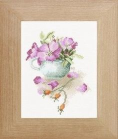 Rose Hips in a Bowl - cross stitch kit by Marjolein Bastin - A pretty picture of pink dog roses and bright orange rose hips. Embroidery Store, Embroidery Kits, Cross Stitch Embroidery, Kit Rose, Marjolein Bastin, Craft Online, Felt Applique, Pink Dog, Needlepoint Kits