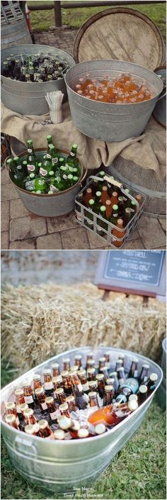 Rustic Buckets Tubs Wedding Ideas / www. Simple Church Wedding, Chic Wedding, Wedding Tips, Perfect Wedding, Rustic Wedding, Elegant Wedding, Wedding Planning, Dream Wedding, Drink Bar