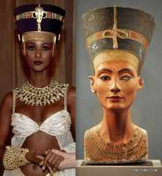 """David Bowie's wife Iman as Nefertiti. Bowie was an occultist, and occultists are obsessed with ancient Egypt. What does this """"Iman as Nefertiti"""" mean? Nefertiti Bust, Queen Nefertiti, Egyptian Queen, Egyptian Art, Egyptian Mummies, Ancient Egypt Art, Ancient History, Ancient Egypt Fashion, African History"""