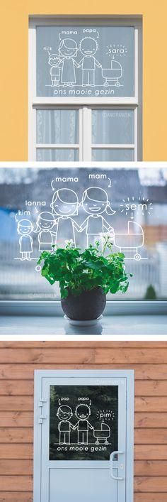 Een lief familie portret geboorteraam #raamtekening. Dit ontwerp wordt helemaal custom voor je gemaakt aan de hand van de geleverde informatie.