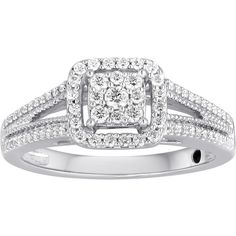 "I Said Yes"" 3/8 CT. T.W. Diamond Framed Platinaire Engagement Ring ($625) ❤ liked on Polyvore featuring jewelry, rings, cocktail ring, diamond engagement rings, square engagement rings, round diamond ring and square diamond rings"