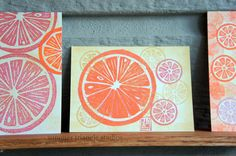 ACEO linocut  citrus in orange gold and by SummerTriangleStudio,