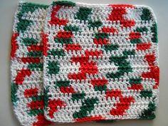Christmas Crochet Cotton Dish Cloths Placemats Set by SashaMCrafts