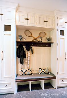 Suzie: Opal Design Group - Mud room with floor to ceiling white cabinets lockers and built-in ...