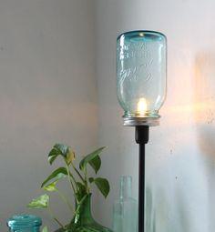 True Blue - Mason Jar Lamp - Upcycled Antique Mason Jar Table Top Lamp - Black Metal and Aqua Blue Glass Lighting Fixture - BootsNGus Light 45.00