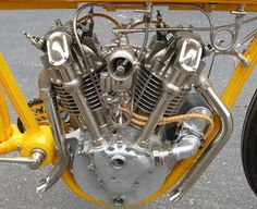 The extraordinarily beautiful motor of the Cyclone was a 45 degree V-Twin with bevel-driven overhead camshafts. In 1915 it was timed at 111 mph, a hundred years ago, amazing. Antique Motorcycles, American Motorcycles, Racing Motorcycles, Indian Motorcycles, Motorcycle Images, Classic Motorcycle, Motorcycle Style, Motorcycle Engine, Vintage Bikes