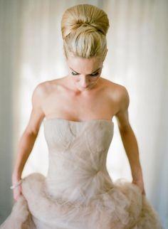 Gorgeous bridal updo: http://www.stylemepretty.com/2015/02/26/spring-santa-barbara-wedding-at-villa-sevillano-part-i/ | Photography: Jose Villa - http://josevilla.com/