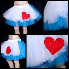 Alice in Wonderland Blue White Apron Heart Tutu