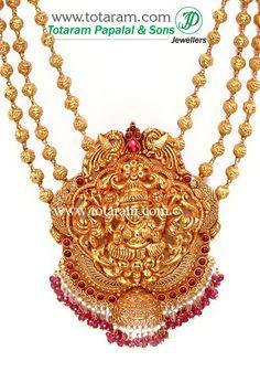 Totaram Jewelers: Buy 22 karat Gold jewelry & Diamond jewellery from India: 22K Gold 'Lakshmi' Long Necklace (Temple Jewellery)