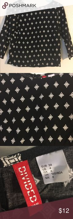 Black and white shirt Black shirt with white pattern. Button up back. H&M Tops Blouses