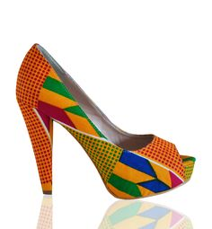 african print heels | Zapatos/Shoes / African print fabric heels - ASHANTI OUVERTES ----match my kinte cloth sash for black grad.