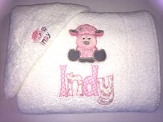 Kids/Baby Gift Embroidered personalized towel and face washer set - Purple cat embroidery - $40 - fluffy pink lamb https://www.facebook.com/LyndalsPersonalizedEmbroidery