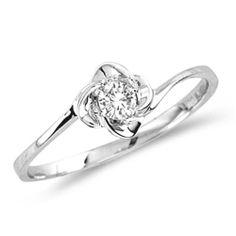 Amazon.com: Diamond Flower Fashion Ring Solitaire Anniversary Band 10k White Gold (0.12 ct.tw): Jewel Tie: Jewelry