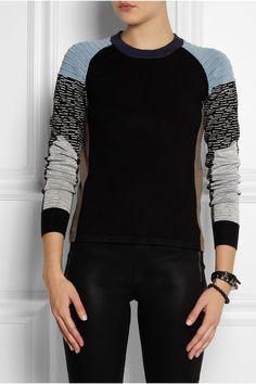 Jonathan Simkhai|Color-block jersey sweater|NET-A-PORTER.COM