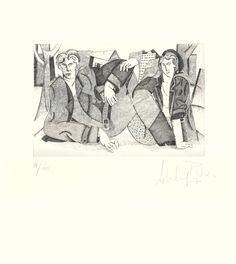 """AUTOR: Alfredo Roldán LUGAR DE NACIMIENTO: Madrid, 1965 TITULO: """"A las afueras de la ciudad""""  MATERIAL DE MATRIZ: Plancha de Zinc TECNICA: Aguafuerte TAMAÑO: 38 x 34 cm Papel: Super Alfa de la casa Guarro Tirada: 100 ejemplares AÑO: 1994"""