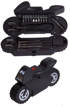 Original caja de herramientas con forma de moto GP y linterna