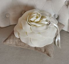 Burlap Ring Pillow Rustic Wedding Ivory Rose on Burlap by bedbuggs, $28.00