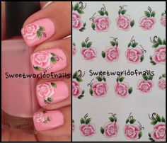 Nail art water decals water transfers pink flowers on Etsy, € Cute Nail Art Designs, French Nail Designs, Nail Water Decals, Nail Decals, Rose Nails, Pink Nails, Nails Now, Nail Art Images, Manicure Y Pedicure