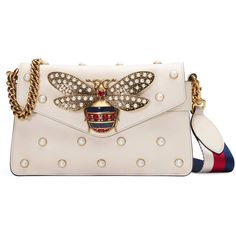Gucci Broadway Leather Clutch ($2,980) ❤ liked on Polyvore featuring bags, handbags, clutches, white, genuine leather handbags, studded leather purse, leather purses, studded purse and studded handbags