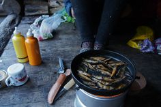 Cooking the best hiking food in trangia with my best hiking mate. Notice matching Sigg-bottles!