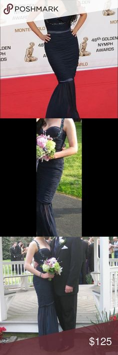 Gorgeous navy mermaid gown! 🔥🔥🔥 Gorgeous navy chiffon gown with mermaid hem. Backless, sweetheart neckline. Jeweled straps extend under bust. Worn once, amazing condition. Same style worn by Kim Kardashian!! Faviana Dresses Prom