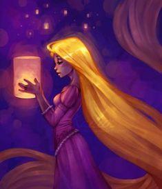 This is another painted portrait of Rapunzel that is amazingly expressive. It's hard not to feel Rapunzel's hope Disney Pixar, Arte Disney, Disney Fan Art, Disney And Dreamworks, Disney Animation, Disney Magic, Disney Movies, Punk Disney, Disney Characters