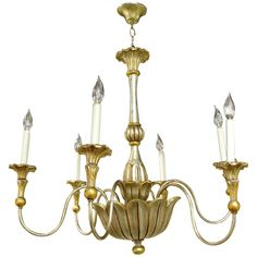 Elegant Six Arm Gold and Silver Gilded Chandelier from France, 20th Century | From a unique collection of antique and modern chandeliers and pendants at https://www.1stdibs.com/furniture/lighting/chandeliers-pendant-lights/