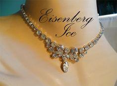 Exquisite EISENBERG ICE Rhinestone Necklace - Long Marquise Drop, Wedding, Bridal, Formal