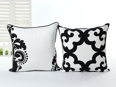 LandJ.ART® 2 PCS 18'' Black and White Abstract Cotton Canvas Pillow Case Cushion Covers 2HB2 * SPECIAL OFFER AHEAD! : Decorative Pillows