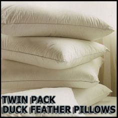 2-x-Luxury-Duck-Feather-Pillow-Twin-Pack-Comfortable-Filling-Hotel-Quality