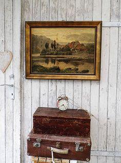 Vintage Bilder - Großes Vintage Bild Stuckrahmen - ein Designerstück von Gerne_wieder bei DaWanda
