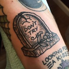 """Don't Try"" Bukowski grave by Myra Oh @ Diadem Tattoo • Jacksonville FL"