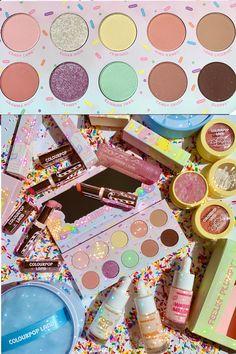 Makeup Kit, Makeup Ideas, Beauty Makeup, Colourpop Eyeshadow Palette, Eyeshadows, High End Makeup Brands, Candy Castle, Lip Balms, Hair Hacks