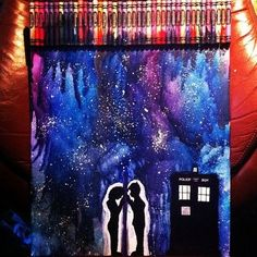 Doctor Who Melted Crayon Art Doctor Who Art, Crayon Art, Melting Crayons, Geronimo, Superwholock, Tardis, Artsy Fartsy, Nerdy, Art Projects