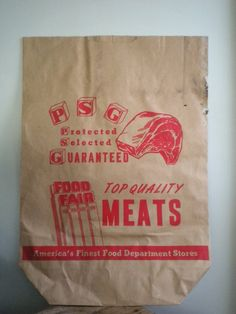 Vintage Grocery Bag Advertising Meat for framing or by emilymusser, $8.00