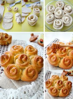 Cute idea - not in English Pastry Recipes, Bread Recipes, Dessert Recipes, Cooking Recipes, Desserts, Bread Shaping, Bread Art, Food Carving, Savoury Baking