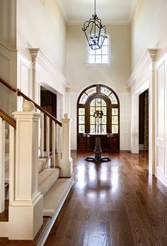 Entrance Foyer, House Entrance, Grand Entrance, Two Story Foyer, Foyer Decorating, Decorating Ideas, Decorating Bedrooms, Hallway Lighting, Architectural Digest