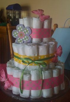 Diaper cake I did for my sisters baby shower