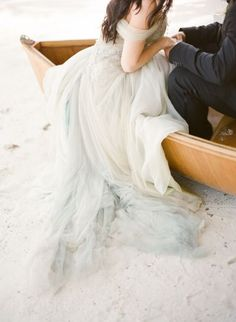 off shoulder ombre grey tulle beach bridal dress