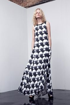 theyskens' theory resort '14  interesting print...just a bunch of diamond shapes with inked in shapes