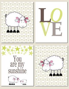 You Are My Sunshine, Little Lamb - Nursery Art You Are My Sunshine Kids Wall Art Baby by vtdesigns