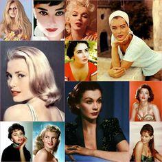 Brigitte Bardot, Audrey Hepburn, Marilyn Monroe, Elizabeth Taylor, Romy Schneider, Grace Kelly, Sophia Loren, Rita Hayworth, Vivien Leigh, Ava Gardner, Claudia Cardinale.