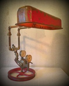 Found Object Light Metal Sculpture Double by RetroSteamWorks